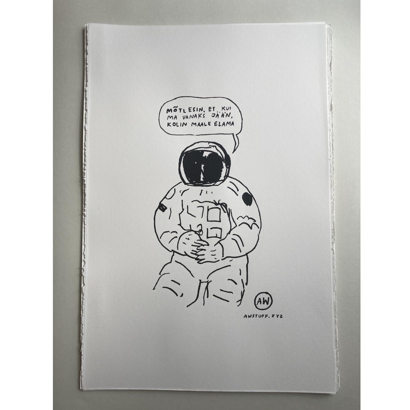 """Siiditrükk paberil """"Kosmonaut"""", limiteeritud ja signeeritud"""